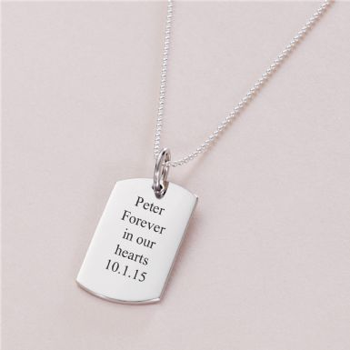 Sterling Silver Dogtag Necklace | Someone Remembered